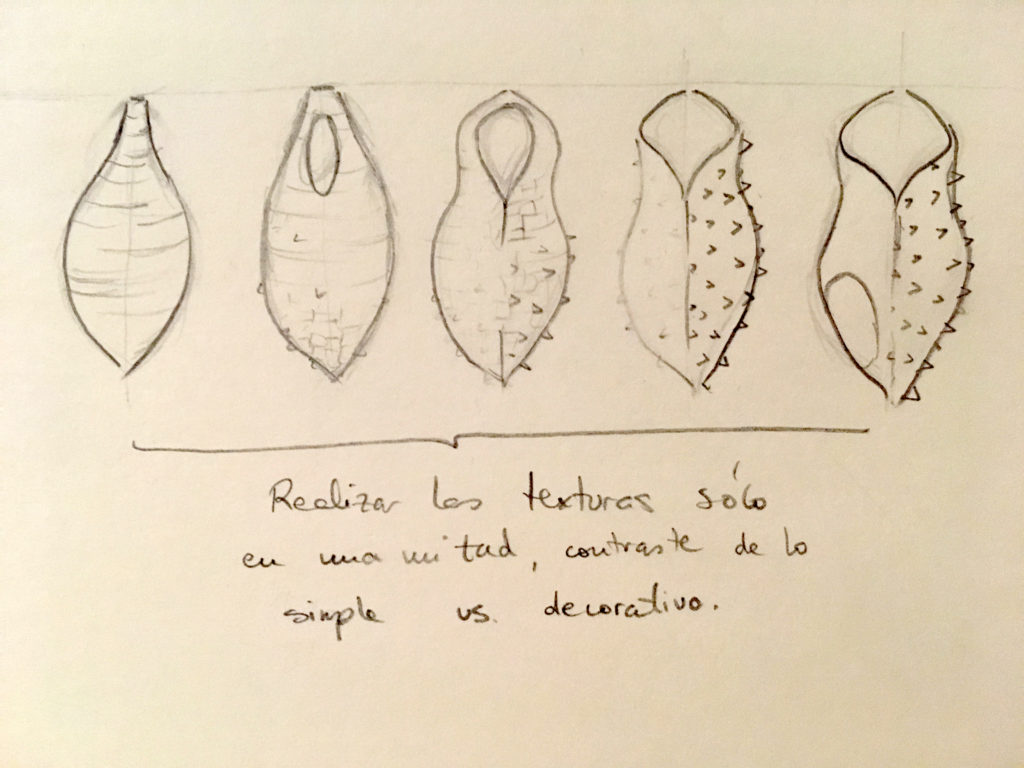 dibujo definitivo Crisálida maceta de colgar de cerámica moderna diseño Patios de Córdoba Luis Torres Ceramics ceramica de La Rambla