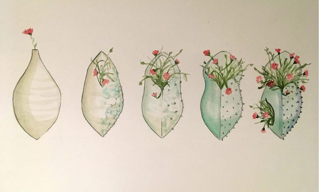 Diseño definitivo color macetas de colgar Patios de Córdoba Crisálida obra artistica ceramica Luis Torres alfareria La Rambla
