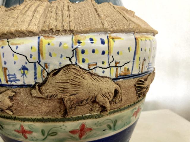 Ánfora de cerámica Biosfera, arte contemporáneo, visión del planeta tierra de Luis Torres Ceramics. Biosphere ceramics amphora contemporary art planet earth