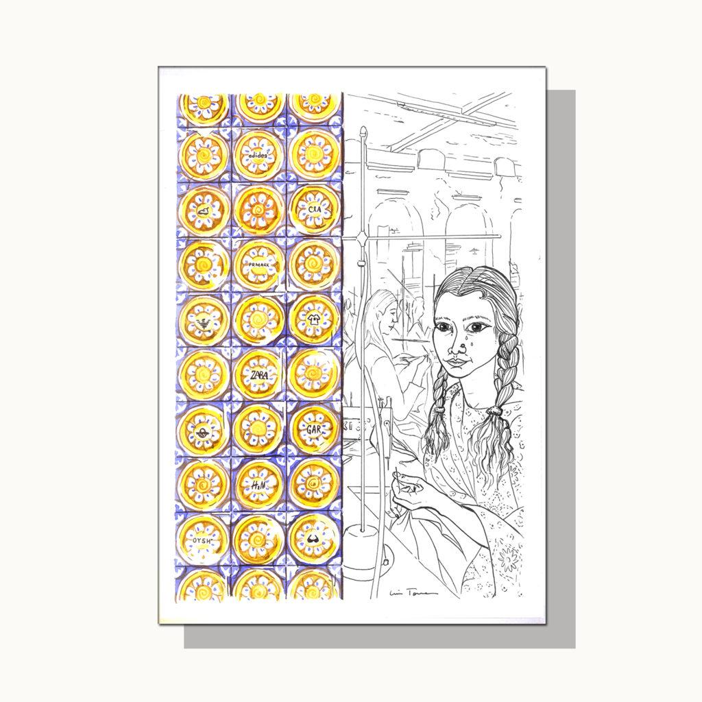 ilustracion_illustration_slow_down_luis_torres_ceramics_azulejos_vs_fast_fashion
