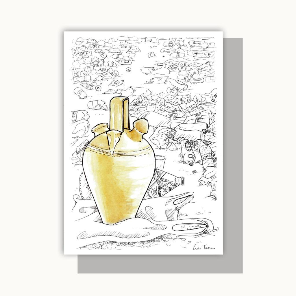 ilustracion_illustration_picture_pintura_botijo_la_rambla_tipico_typical_made_in_spain_hecho_a_mano_españa_botellon_slow_down_slow_life_fashion