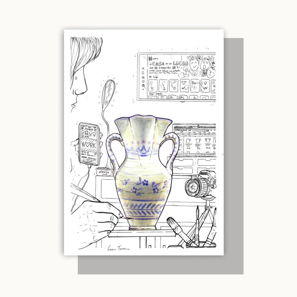 ilustracion_illustration_slow_down_luis_torres_ceramics_jarra_vs_distraction_producto