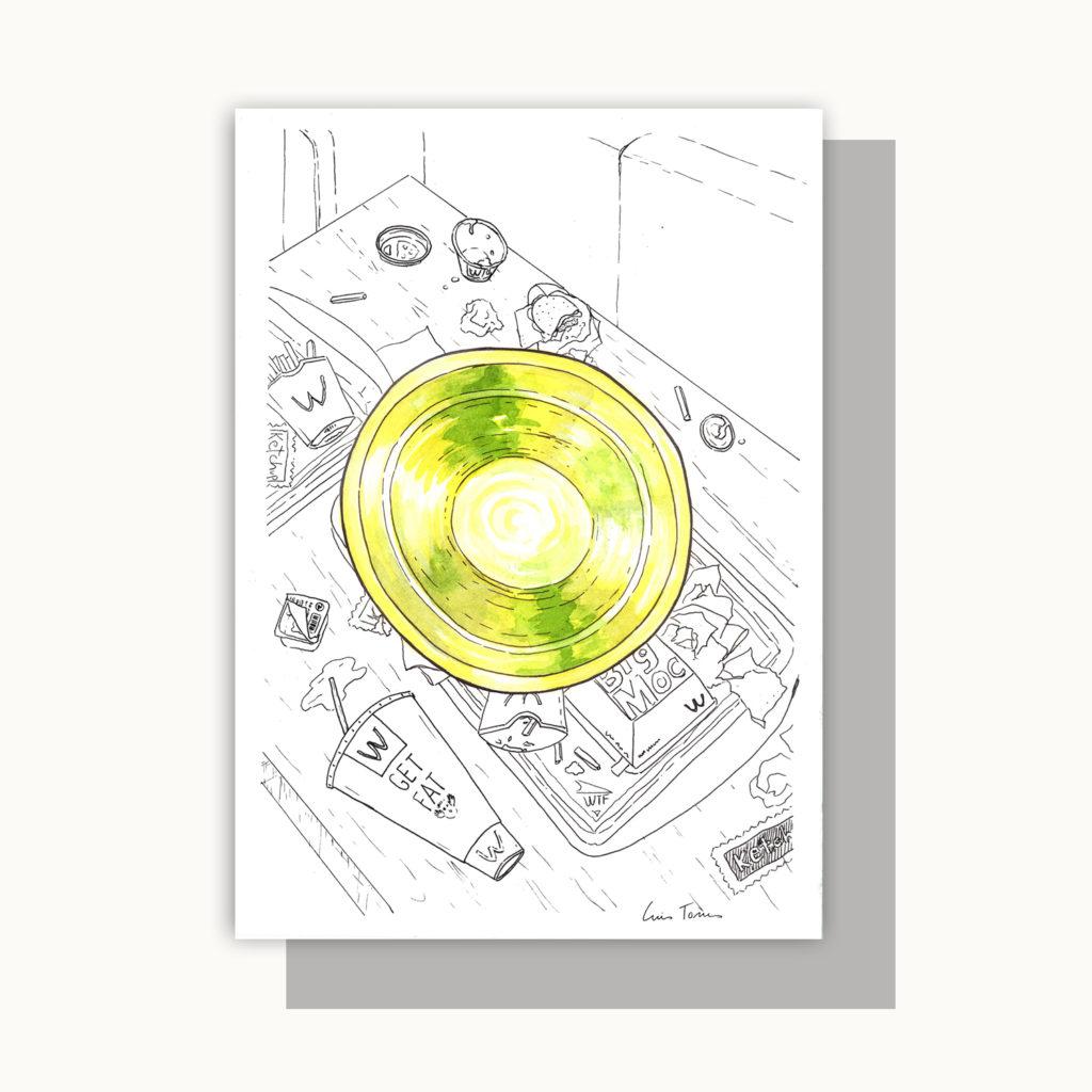 ilustracion_illustration_slow_down_luis_torres_ceramics_lebrillo_vs_fast_food