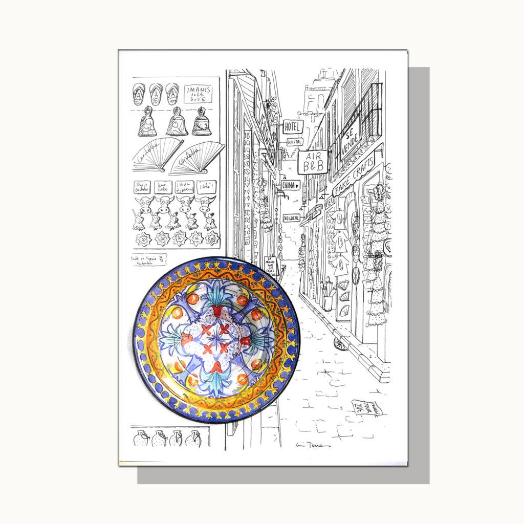 ilustracion_illustration_slow_down_luis_torres_ceramics_plato_vs_mass_tourism